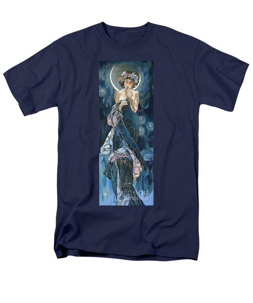 My Acrylic Painting As An Interpretation Of The Famous Artwork Of Alphonse Mucha - Moon - Men's T-Shirt  (Regular Fit) by Elena Yakubovich
