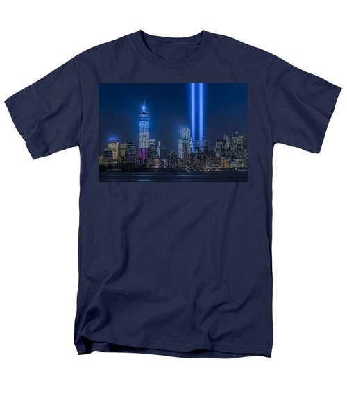 New York City Tribute In Lights Men's T-Shirt  (Regular Fit) by Susan Candelario