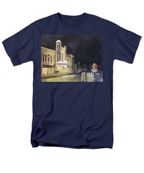 Night Time At Michigan Theater - Ann Arbor Mi Men's T-Shirt  (Regular Fit) by Yoshiko Mishina