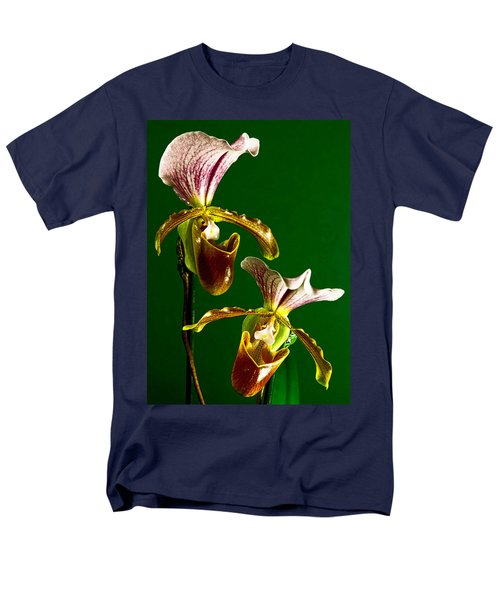 Pair Of Lady Slipper Orchids Men's T-Shirt  (Regular Fit) by Elf Evans