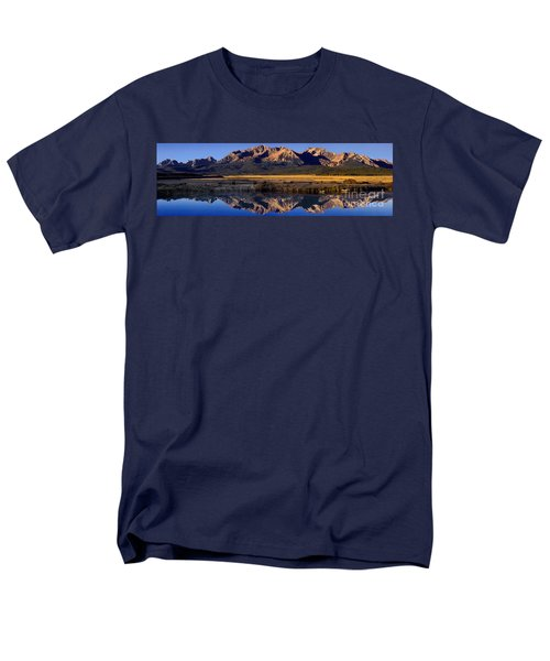 Panorama Reflections Sawtooth Mountains Nra Idaho Men's T-Shirt  (Regular Fit) by Dave Welling