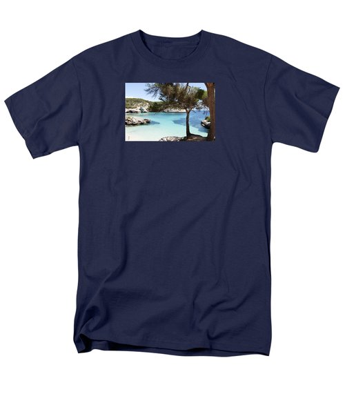 Paradise In Minorca Is Called Cala Mitjana Beach Where Sand Is Almost White And Sea Is A Deep Blue  Men's T-Shirt  (Regular Fit)