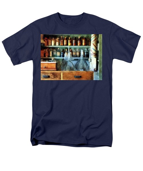 Men's T-Shirt  (Regular Fit) featuring the photograph Pharmacist - Glass Funnels And Barber Pole by Susan Savad