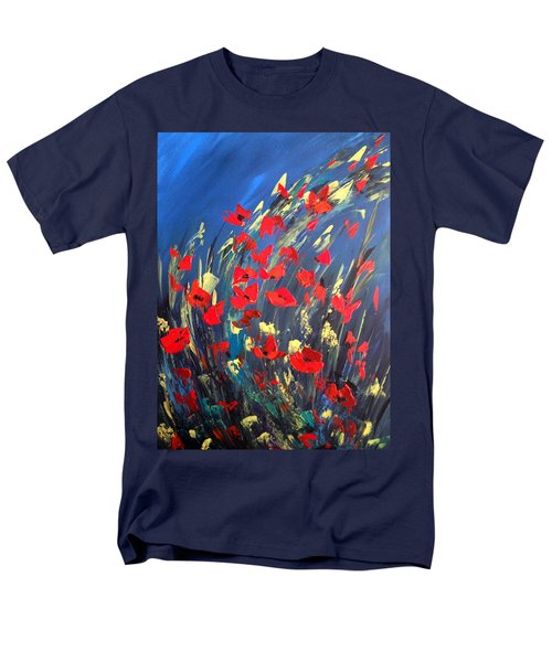 Men's T-Shirt  (Regular Fit) featuring the painting Poppies Field On A Windy Day by Dorothy Maier