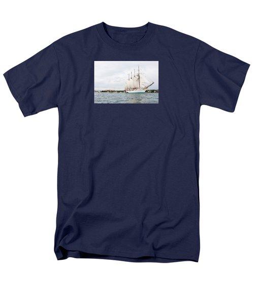 Juan Sebastian De Elcano Famous Tall Ship Of Spanish Navy Visits Port Mahon In Front Of Bloody Islan Men's T-Shirt  (Regular Fit) by Pedro Cardona