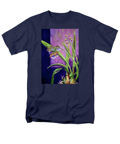 Men's T-Shirt  (Regular Fit) featuring the painting Purple Orchids by Nancy Jolley
