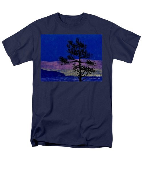 Men's T-Shirt  (Regular Fit) featuring the drawing Purple Sunset Bay by D Hackett