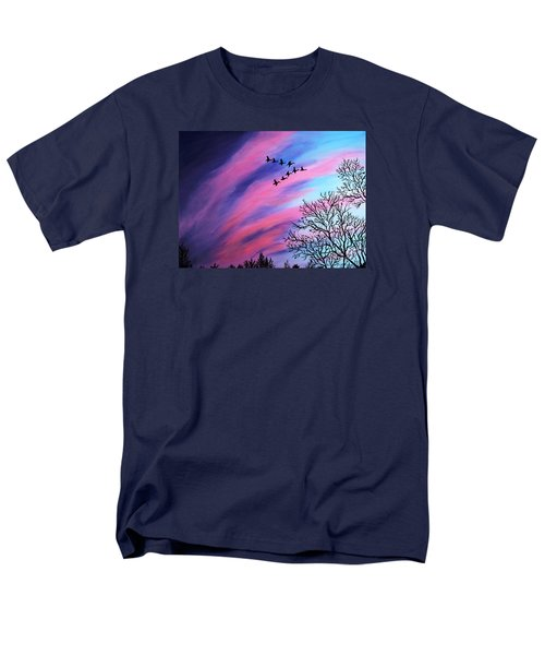 Raging Sky And Canada Geese Men's T-Shirt  (Regular Fit) by Barbara Griffin