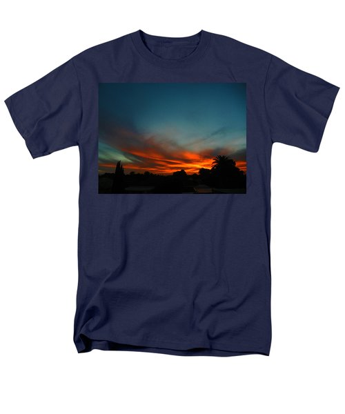 Red And Green Sunset Men's T-Shirt  (Regular Fit) by Mark Blauhoefer