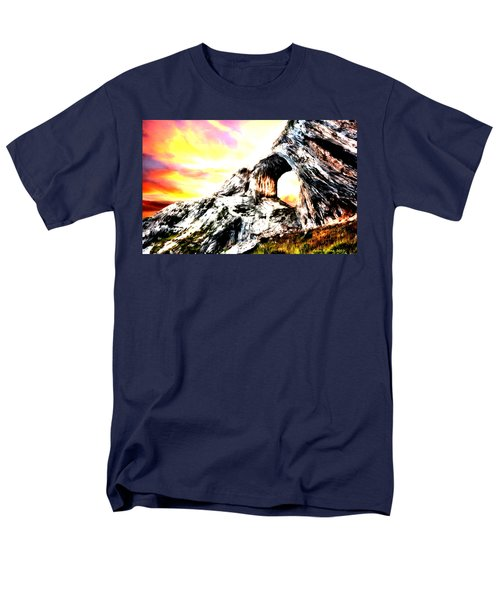 Men's T-Shirt  (Regular Fit) featuring the painting Rock Cliff Sunset by Bruce Nutting
