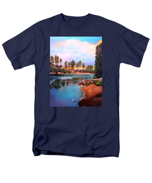 Men's T-Shirt  (Regular Fit) featuring the painting Rose Canyon Lake 2 by M Diane Bonaparte