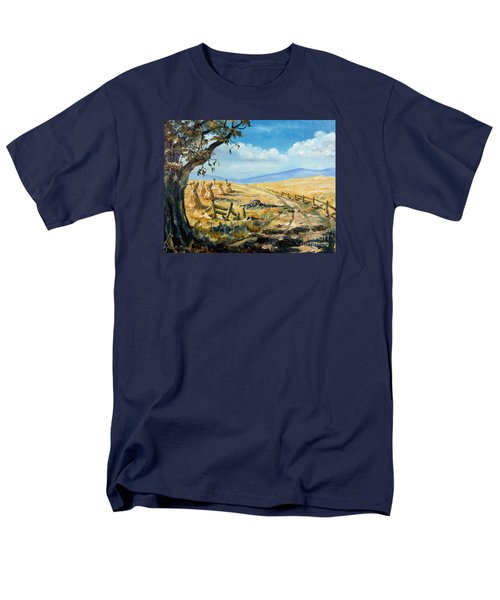 Rural Farmland Americana Folk Art Autumn Harvest Ranch Men's T-Shirt  (Regular Fit) by Lee Piper