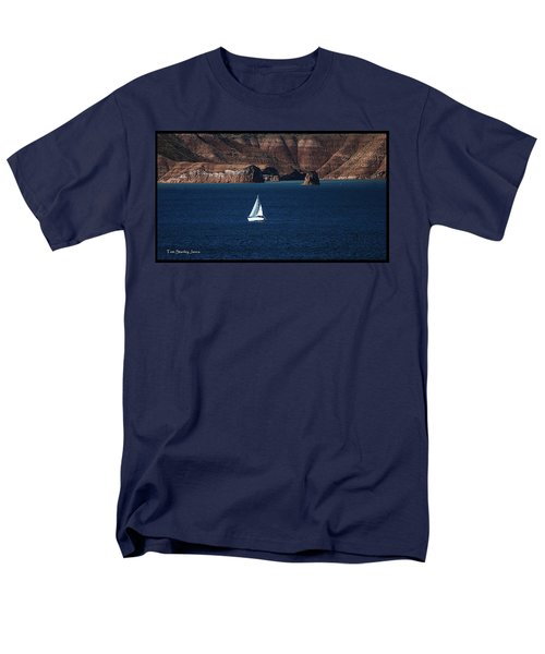 Men's T-Shirt  (Regular Fit) featuring the photograph Sailing At Roosevelt Lake On The Blue Water by Tom Janca