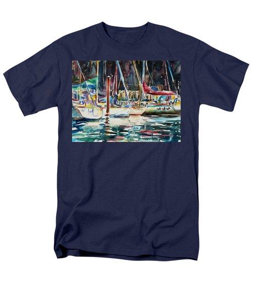 Men's T-Shirt  (Regular Fit) featuring the painting Santa Cruz Dock by Xueling Zou
