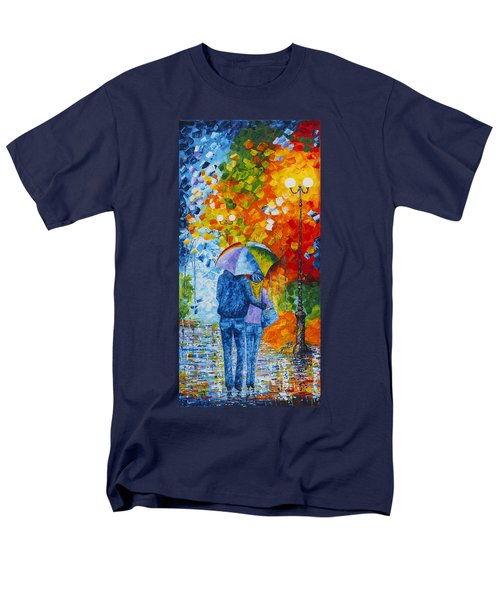 Men's T-Shirt  (Regular Fit) featuring the painting Sharing Love On A Rainy Evening Original Palette Knife Painting by Georgeta Blanaru