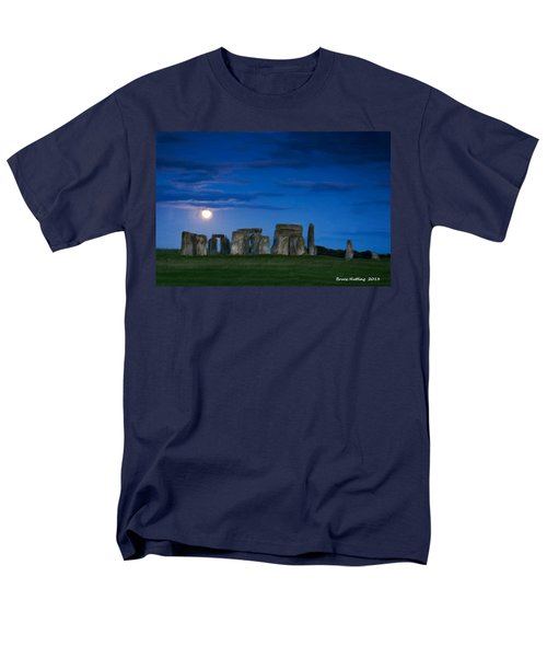 Men's T-Shirt  (Regular Fit) featuring the painting Stonehenge At Night by Bruce Nutting