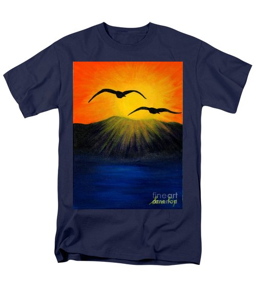 Men's T-Shirt  (Regular Fit) featuring the painting Sunrise And Two Seagulls by Oksana Semenchenko