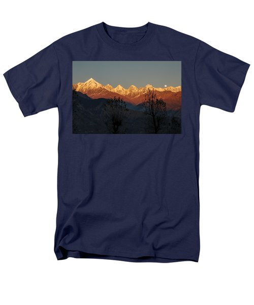 Sunset And Moonrise. The Rendezvous. Men's T-Shirt  (Regular Fit) by Fotosas Photography