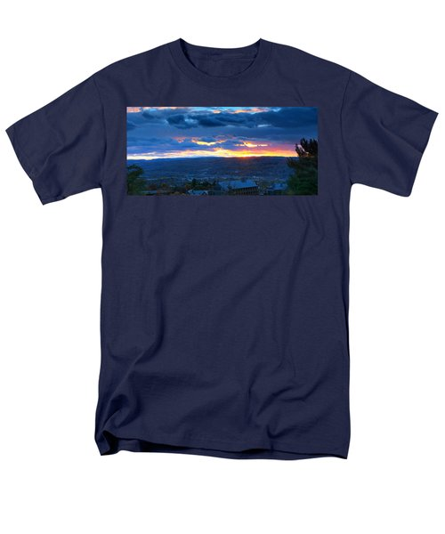Sunset In Ithaca New York Panoramic Photography Men's T-Shirt  (Regular Fit) by Paul Ge