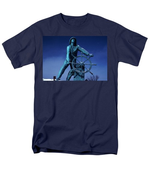 Men's T-Shirt  (Regular Fit) featuring the photograph The Fisherman Statue Gloucester by Tom Wurl