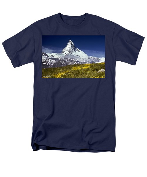 Men's T-Shirt  (Regular Fit) featuring the photograph The Matterhorn With Alpine Meadow In Foreground by Jeff Goulden