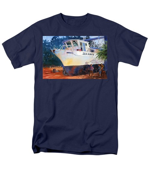Men's T-Shirt  (Regular Fit) featuring the painting The Sea Hawk In Drydock by Roger Rockefeller