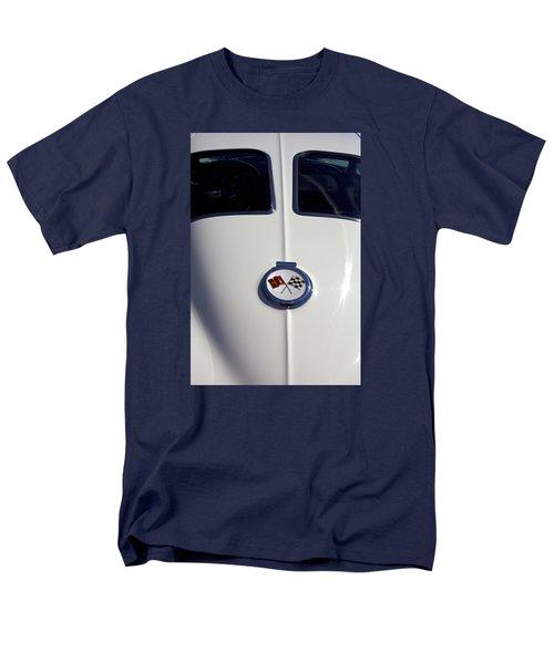 Men's T-Shirt  (Regular Fit) featuring the photograph The White Vette - Vintage Corvette Stingray Emblem by Jane Eleanor Nicholas