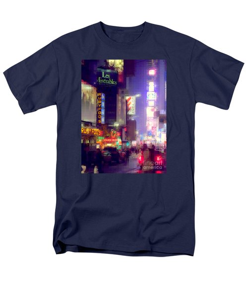 Times Square At Night - Columns Of Light Men's T-Shirt  (Regular Fit) by Miriam Danar