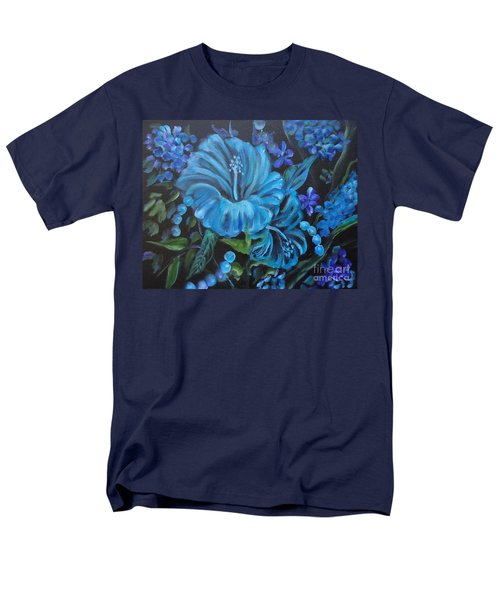 Turquoise Hibiscus Men's T-Shirt  (Regular Fit) by Jenny Lee