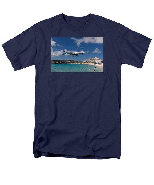 U S Airways Low Approach To St. Maarten Men's T-Shirt  (Regular Fit) by David Gleeson