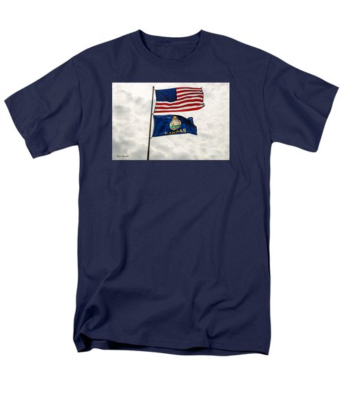 Us And Kansas Flags Men's T-Shirt  (Regular Fit) by Sue Smith