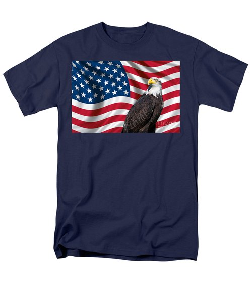 Men's T-Shirt  (Regular Fit) featuring the photograph Usa Flag And Bald Eagle by Carsten Reisinger