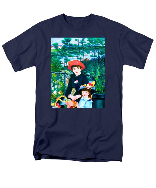 Men's T-Shirt  (Regular Fit) featuring the painting Version Of Renoir's Two Sisters On The Terrace by Lorna Maza