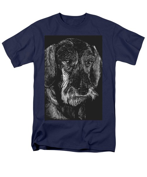 Wire Haired Dachshund Men's T-Shirt  (Regular Fit) by Rachel Hames