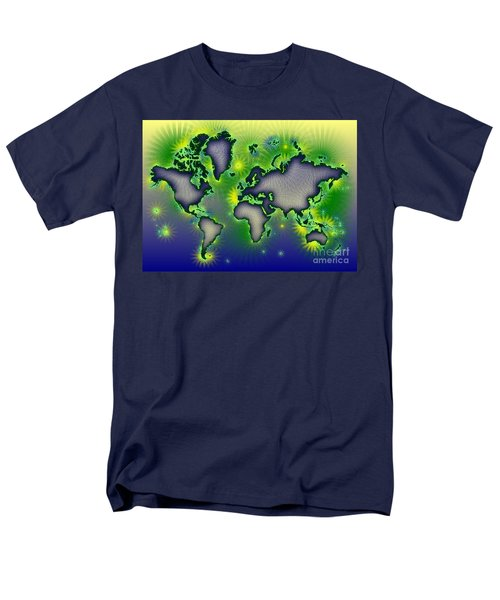 World Map Amuza In Blue Yellow And Green Men's T-Shirt  (Regular Fit) by Eleven Corners