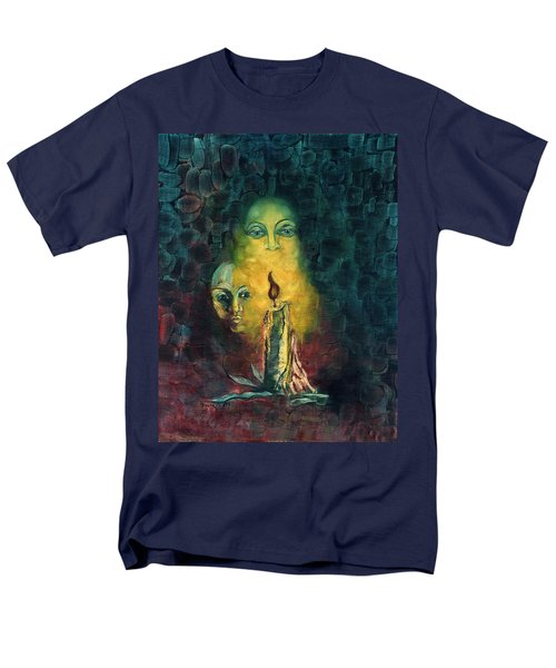 Candle Light Mother Child Faces In Yellow Candle Light Blue Red Background  Men's T-Shirt  (Regular Fit) by Rachel Hershkovitz