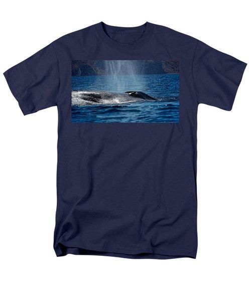 Men's T-Shirt  (Regular Fit) featuring the photograph Fin Whale Spouting by Don Schwartz