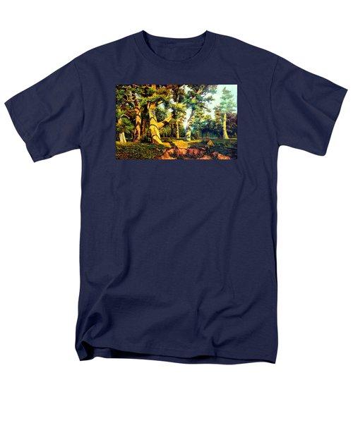 Men's T-Shirt  (Regular Fit) featuring the painting   Green Summer-the Oak Forest by Henryk Gorecki
