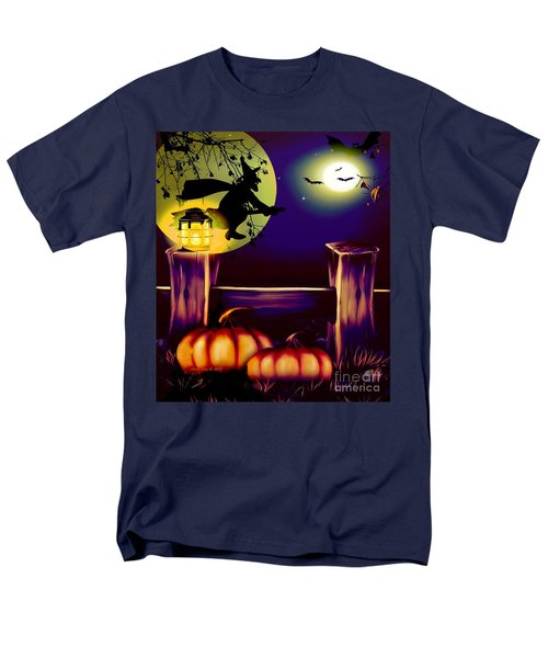 Halloween Witches Moon Bats And Pumpkins Men's T-Shirt  (Regular Fit) by Annie Zeno