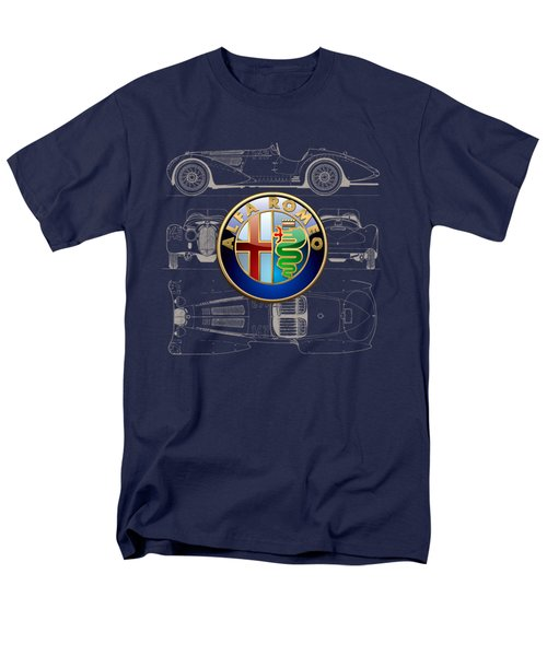Alfa Romeo 3 D Badge Over 1938 Alfa Romeo 8 C 2900 B Vintage Blueprint Men's T-Shirt  (Regular Fit)