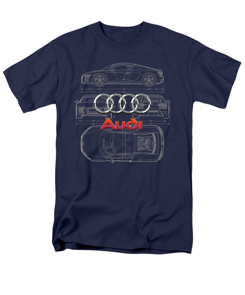 Audi 3 D Badge Over 2016 Audi R 8 Blueprint Men's T-Shirt  (Regular Fit) by Serge Averbukh
