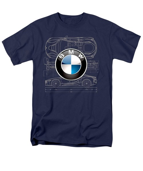B M W 3 D Badge Over B M W I8 Blueprint  Men's T-Shirt  (Regular Fit) by Serge Averbukh