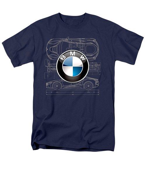 B M W 3 D Badge Over B M W I8 Blueprint  Men's T-Shirt  (Regular Fit)
