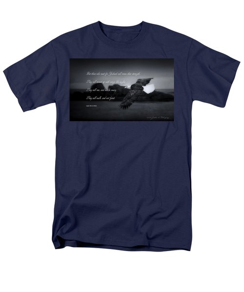 Men's T-Shirt  (Regular Fit) featuring the photograph Bald Eagle In Flight With Bible Verse by John A Rodriguez