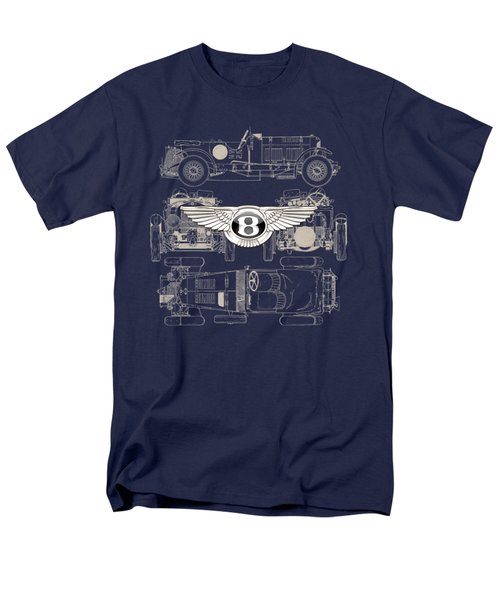 Bentley - 3 D Badge Over 1930 Bentley 4.5 Liter Blower Vintage Blueprint Men's T-Shirt  (Regular Fit)