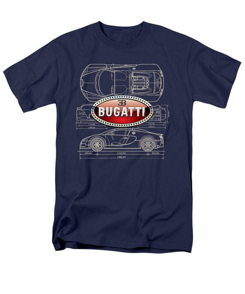 Bugatti 3 D Badge Over Bugatti Veyron Grand Sport Blueprint  Men's T-Shirt  (Regular Fit)