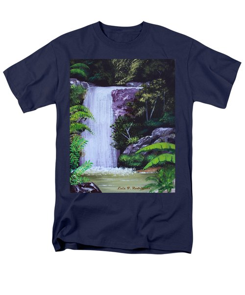 Tropical Waterfall Men's T-Shirt  (Regular Fit) by Luis F Rodriguez