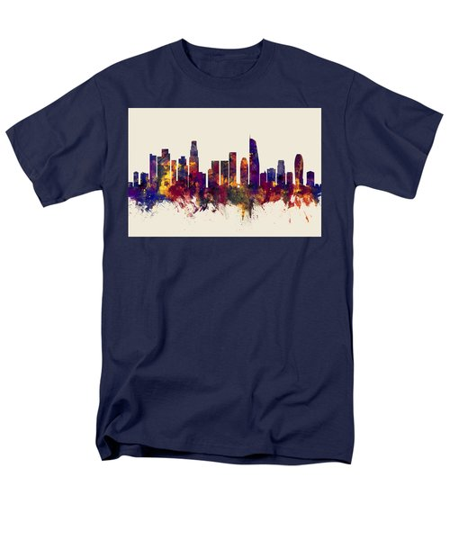 Los Angeles California Skyline Men's T-Shirt  (Regular Fit) by Michael Tompsett