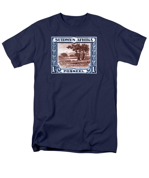 Men's T-Shirt  (Regular Fit) featuring the painting 1931 South West African Landscape Stamp by Historic Image