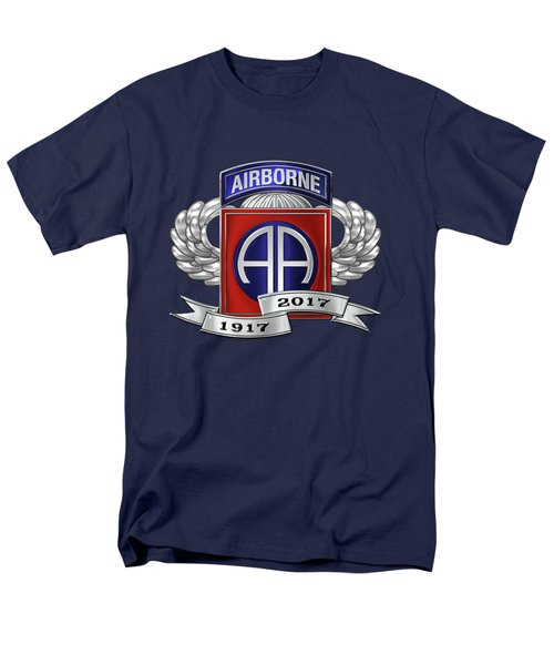 Men's T-Shirt  (Regular Fit) featuring the digital art 82nd Airborne Division 100th Anniversary Insignia Over Blue Velvet by Serge Averbukh